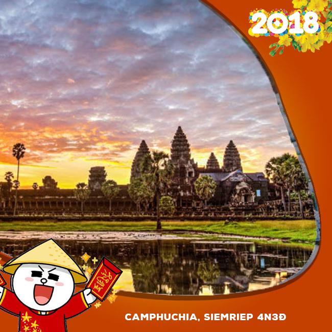 Tour Camphuchia, Siemriep, Angkor , Phnom Pênh  Tết Âm Lịch 2018 4N3Đ