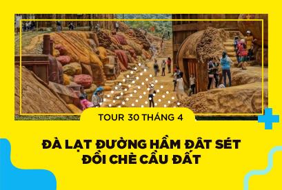 Tour Đà Lạt 30/4 Đường Hầm Đât Sét, Ga Xe Lửa, Trại Mát, Cổng Trời, Hoa Cẩm Tú Cầu 4N3D