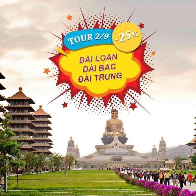 Tour Đài Loan, Lễ 2 Tháng 9, Đào Viên, Đài Bắc, Đài Trung, Nam Đầu 5N4Đ