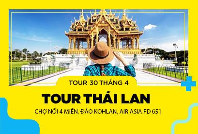 Thái Lan 30/4 - Chợ Nổi 4 Miền, Đảo Kohlan, AIR ASIA FD 651
